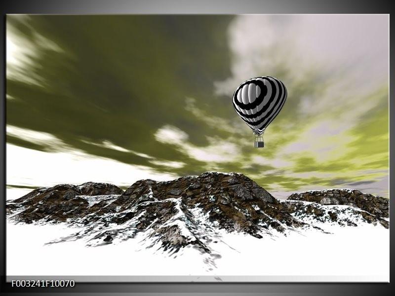 Glas schilderij Luchtballon | Groen, Wit, Grijs