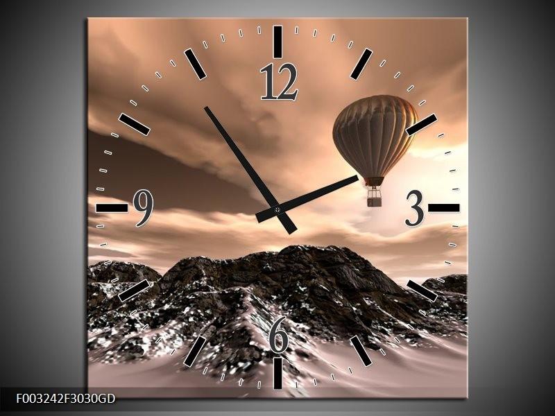 Wandklok op Glas Luchtballon | Kleur: Bruin, Zwart, Wit | F003242CGD