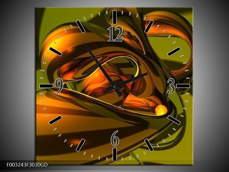 Wandklok op Glas Abstract | Kleur: Groen, Geel, Goud | F003243CGD