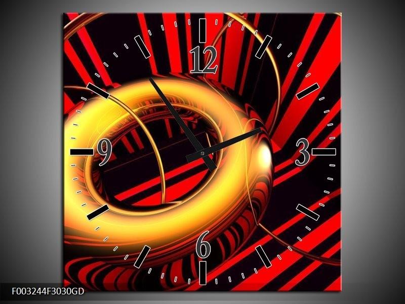 Wandklok op Glas Abstract | Kleur: Goud, Rood, Zwart | F003244CGD