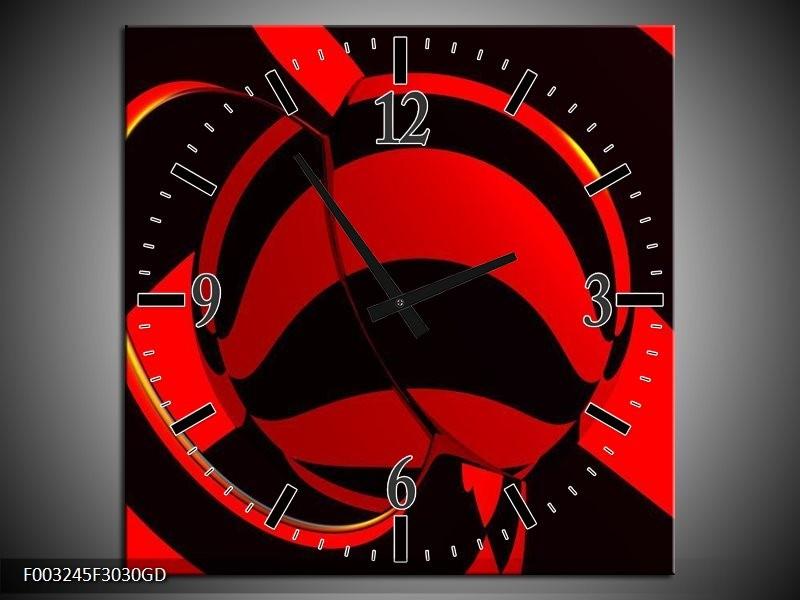 Wandklok op Glas Abstract   Kleur: Zwart, Rood   F003245CGD