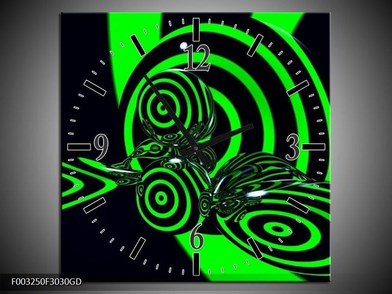 Wandklok op Glas Abstract | Kleur: Groen, Zwart | F003250CGD