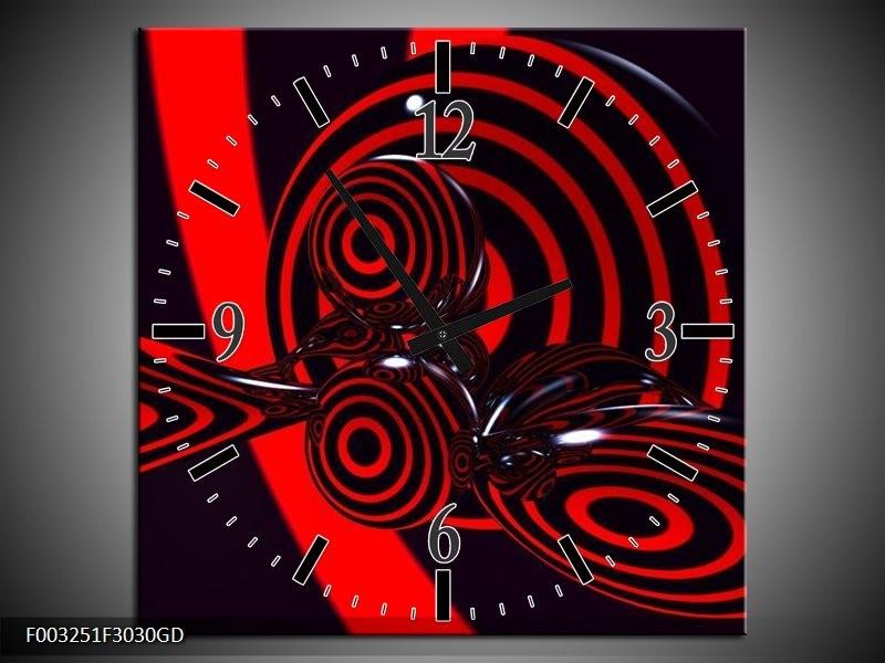 Wandklok op Glas Abstract   Kleur: Rood, Zwart   F003251CGD