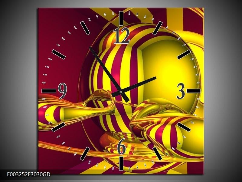 Wandklok op Glas Abstract   Kleur: Geel, Rood   F003252CGD