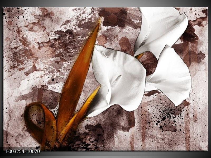Glas schilderij Bloem | Bruin, Wit, Grijs