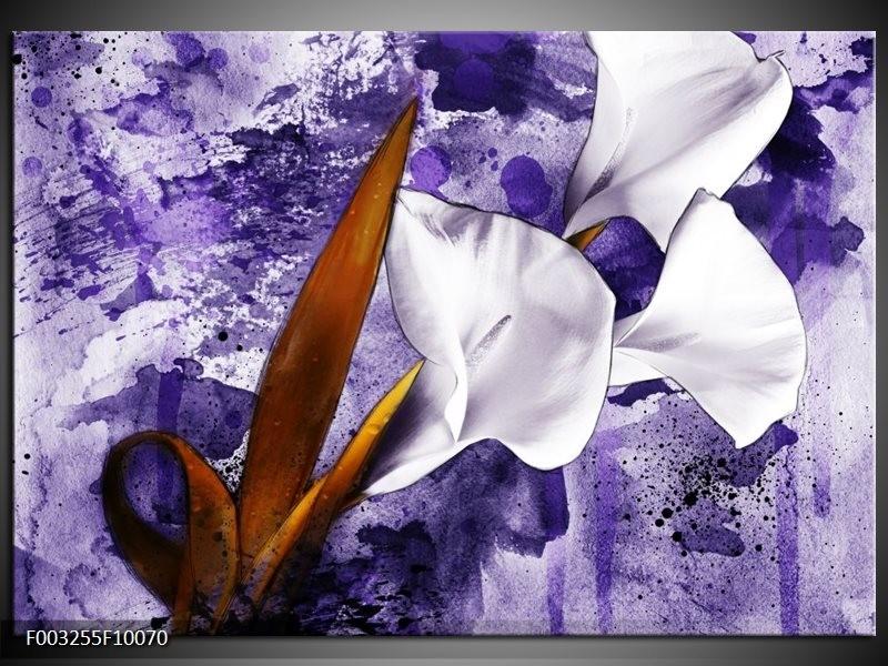 Foto canvas schilderij Bloem | Paars, Wit, Bruin