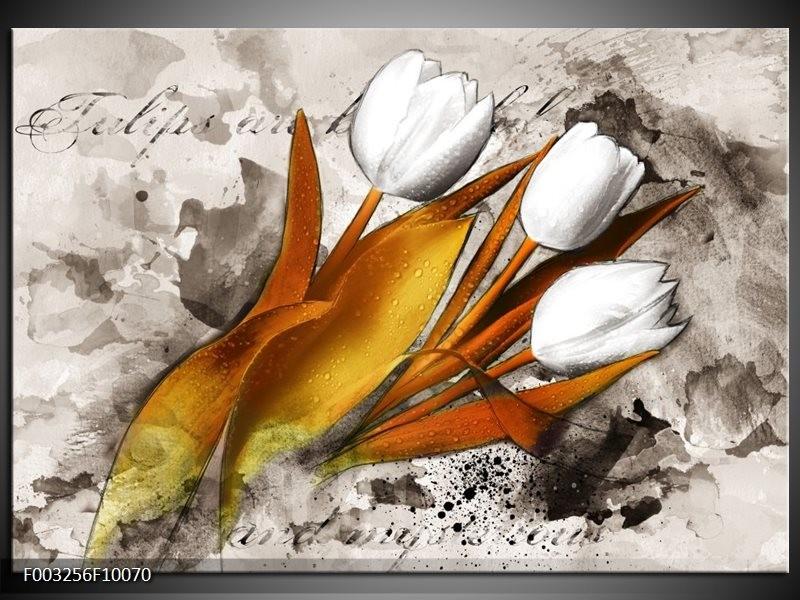 Glas schilderij Tulpen | Grijs, Wit, Bruin
