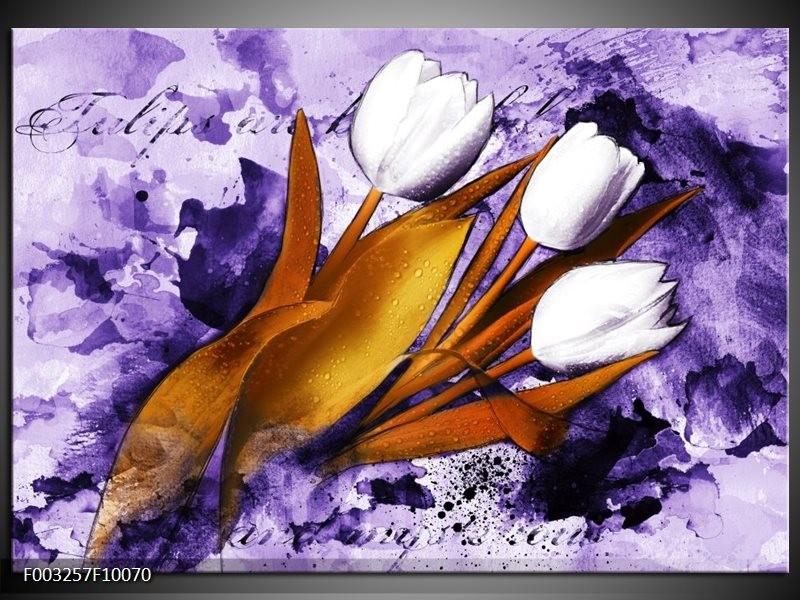 Glas schilderij Tulpen | Paars, Bruin, Wit