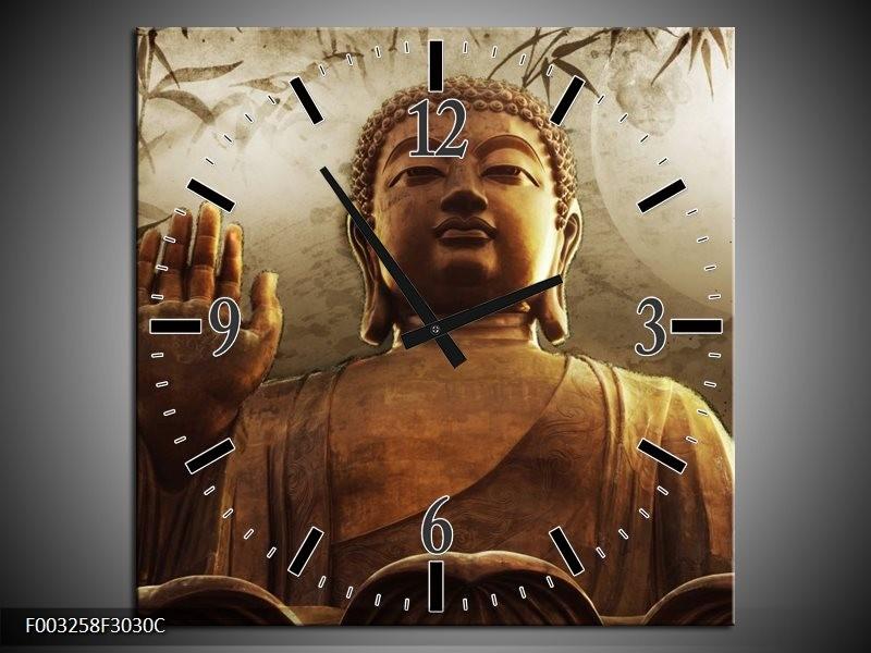 Wandklok op Canvas Boeddha | Kleur: Bruin, Grijs, Wit | F003258C