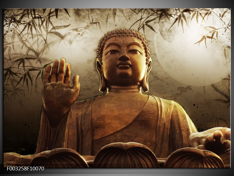 Glas schilderij Boeddha   Bruin, Grijs, Wit