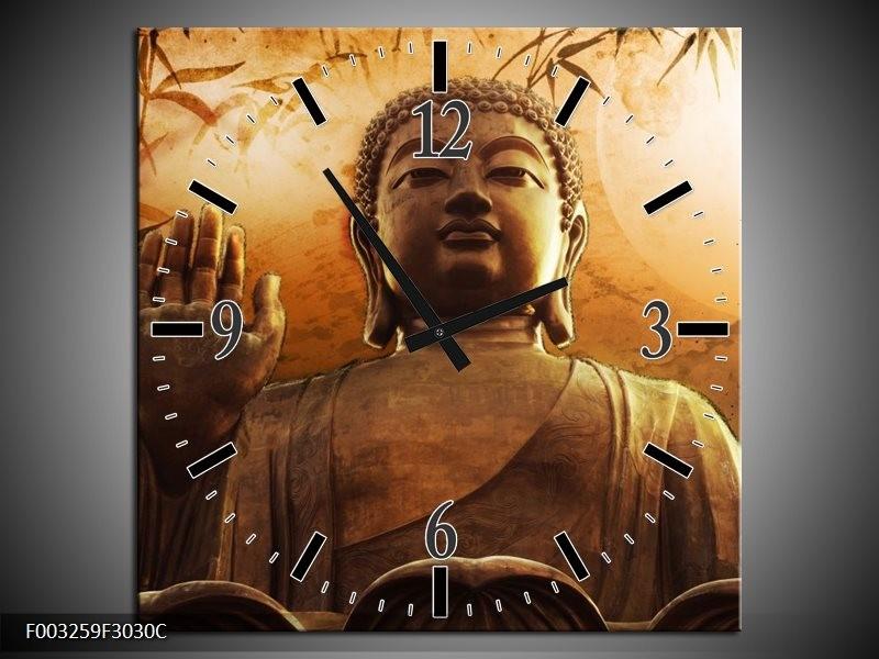 Wandklok op Canvas Boeddha | Kleur: Bruin, Grijs, Wit | F003259C