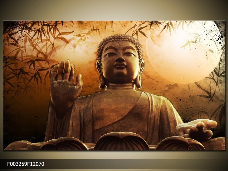 OP VOORRAAD Foto canvas schilderij Boeddha | Kleur: Bruin, Wit | F003259