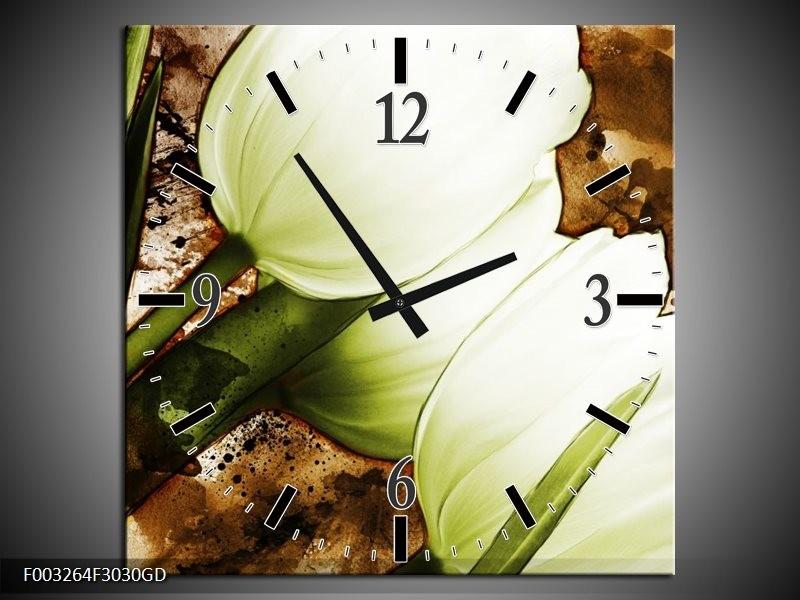 Wandklok op Glas Tulpen | Kleur: Groen, Wit, Bruin | F003264CGD