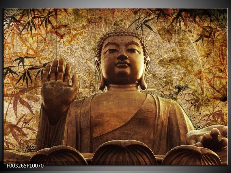 Glas schilderij Boeddha | Bruin, Grijs