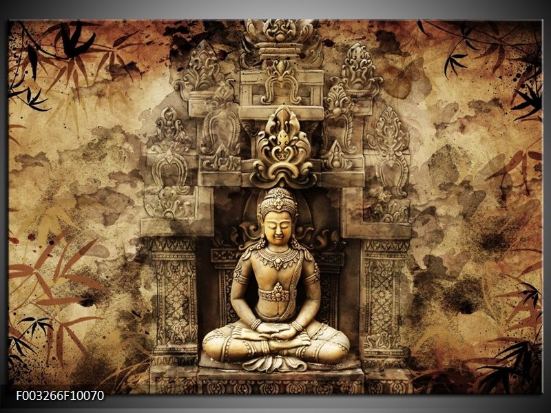 Glas schilderij Boeddha | Grijs, Bruin