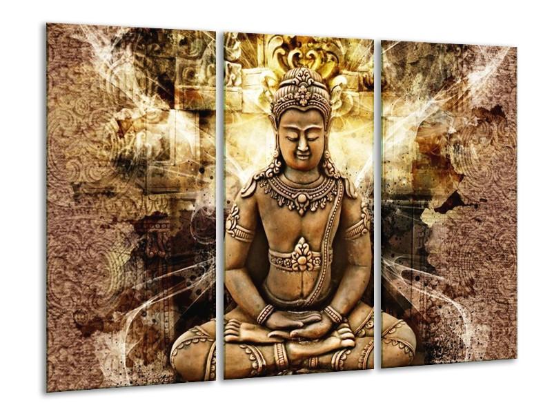 Canvas schilderij Boeddha | Bruin, Wit, Geel | 120x80cm 3Luik