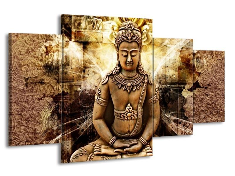 Canvas schilderij Boeddha   Bruin, Wit, Geel   160x90cm 4Luik