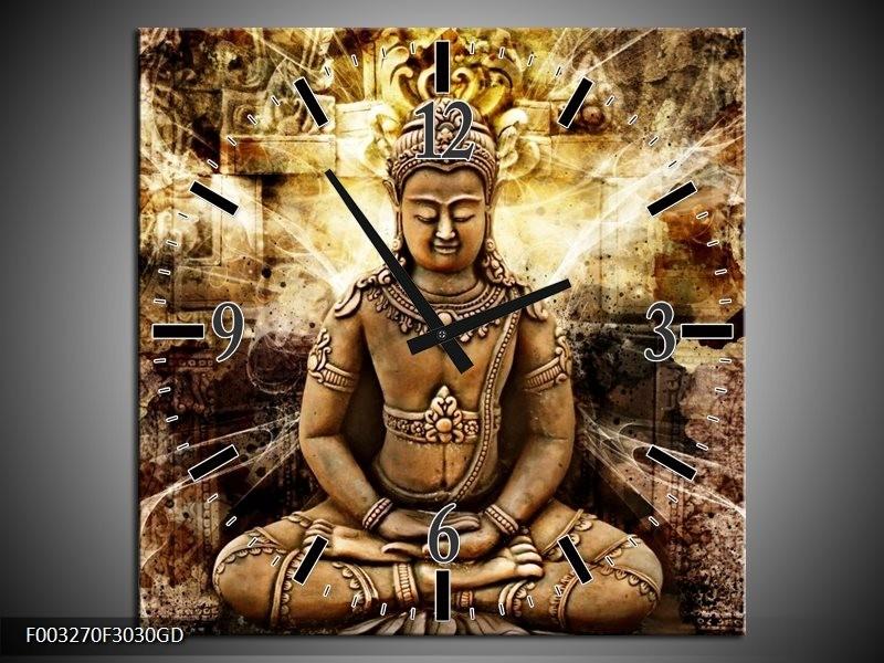 Wandklok op Glas Boeddha   Kleur: Bruin, Wit, Geel   F003270CGD
