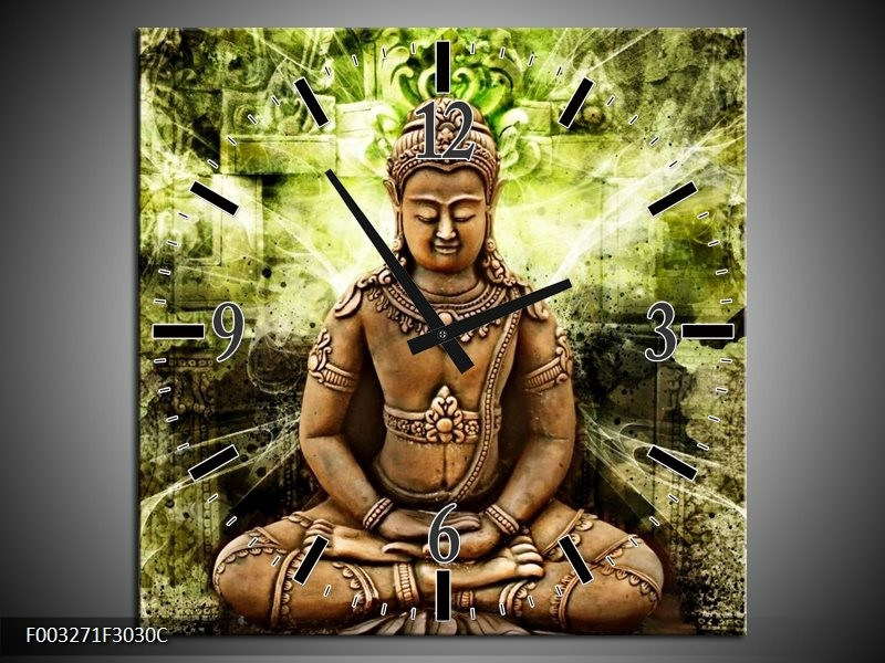 Wandklok op Canvas Boeddha   Kleur: Groen, Bruin   F003271C