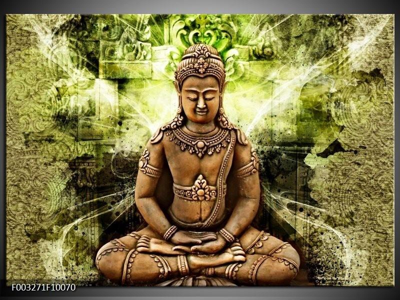 Glas schilderij Boeddha | Groen, Bruin