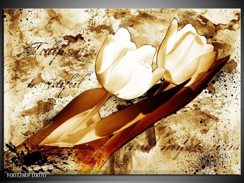 Glas schilderij Tulpen   Bruin, Wit