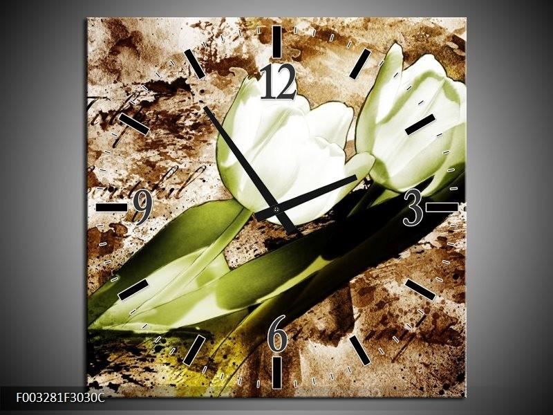 Wandklok op Canvas Tulpen   Kleur: Groen, Bruin, Wit   F003281C
