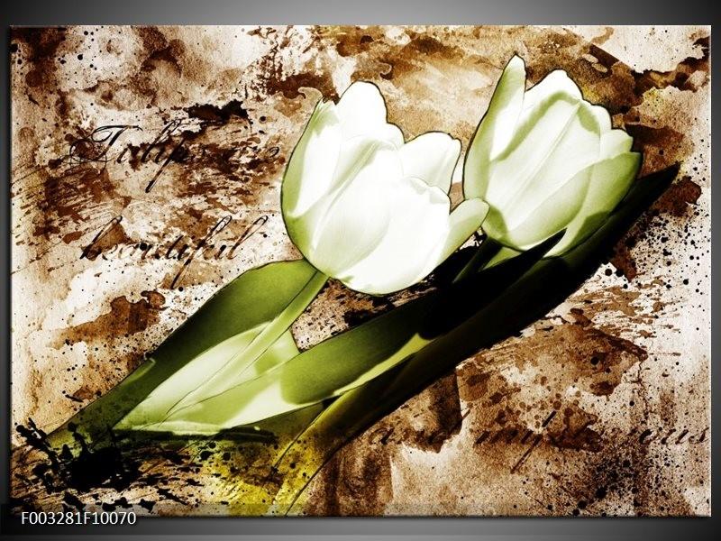 Glas schilderij Tulpen   Groen, Bruin, Wit
