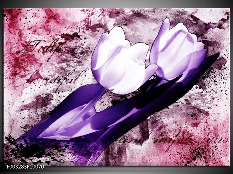 Glas schilderij Tulpen   Paars, Wit