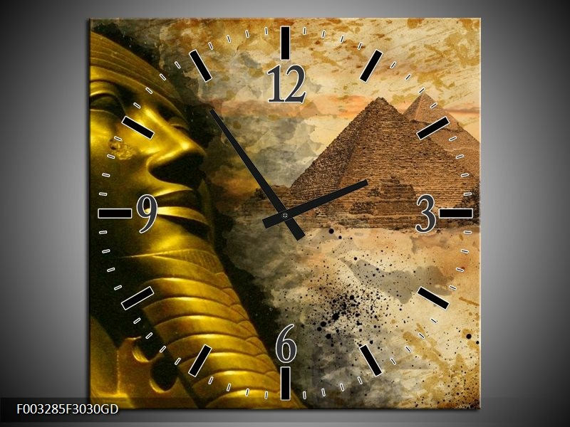 Wandklok op Glas Egypte | Kleur: Bruin, Goud, Grijs | F003285CGD