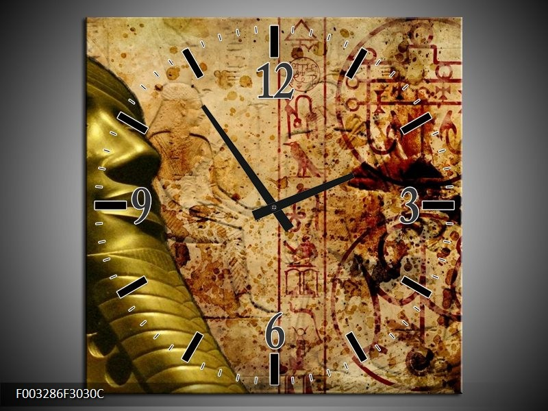 Wandklok op Canvas Egypte | Kleur: Bruin, Goud, Grijs | F003286C