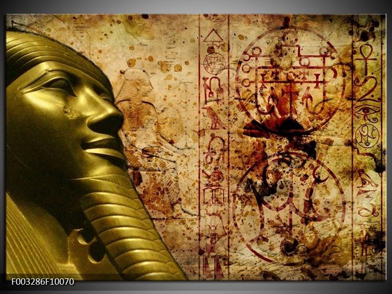 Glas schilderij Egypte | Bruin, Goud, Grijs
