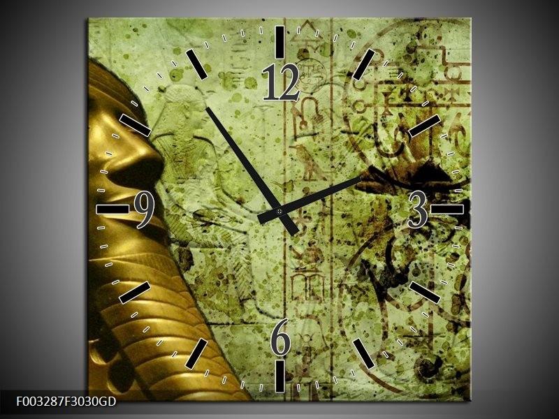 Wandklok op Glas Egypte | Kleur: Groen, Goud, Grijs | F003287CGD