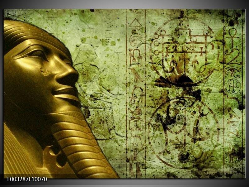 Glas schilderij Egypte | Groen, Goud, Grijs