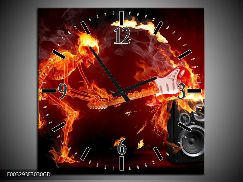 Wandklok op Glas Muziek   Kleur: Rood, Zwart, Geel   F003293CGD