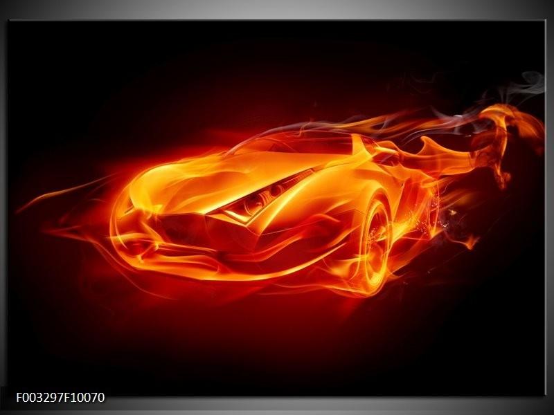 Glas schilderij Auto | Rood, Zwart, Geel