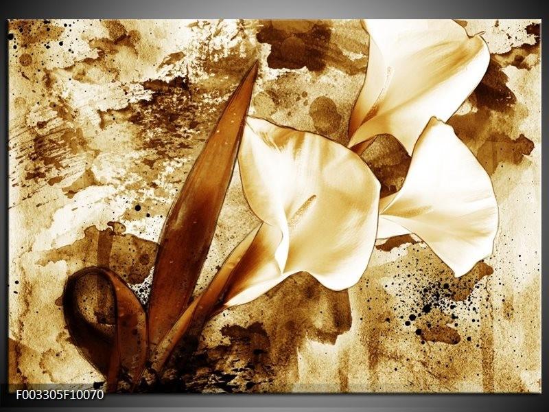 Foto canvas schilderij Bloem | Bruin, Wit