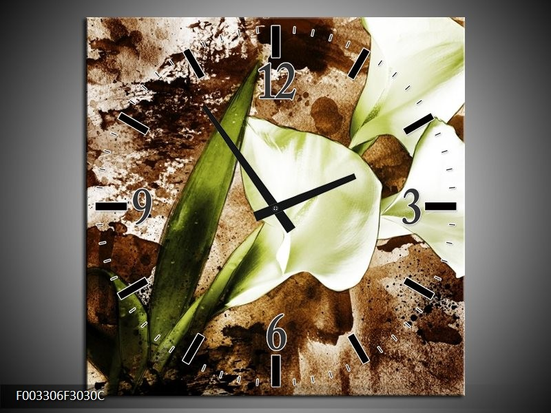 Wandklok op Canvas Bloem   Kleur: Bruin, Wit, Groen   F003306C