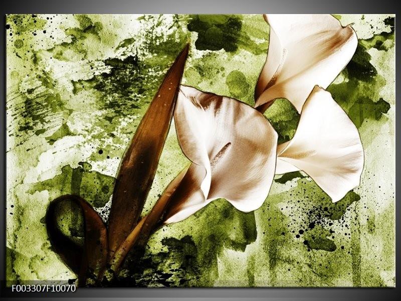 Foto canvas schilderij Bloem   Bruin, Wit, Groen