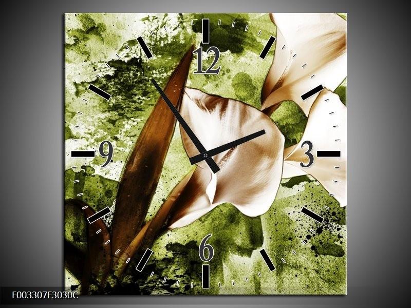 Wandklok op Canvas Bloem | Kleur: Bruin, Wit, Groen | F003307C