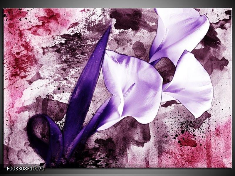 Glas schilderij Bloem | Paars, Wit, Roze