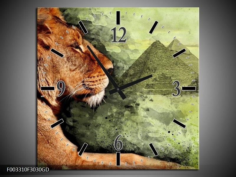 Wandklok op Glas Leeuw | Kleur: Bruin, Grijs, Groen | F003310CGD