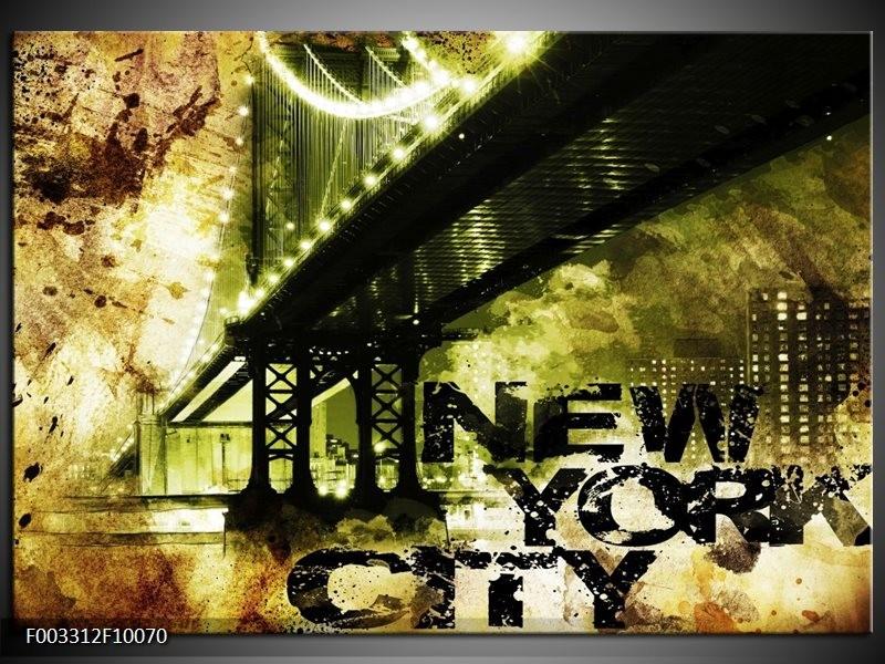 Foto canvas schilderij New York   Geel, Zwart, Bruin