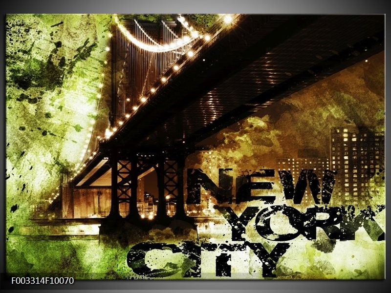 Foto canvas schilderij New York   Groen, Zwart, Bruin