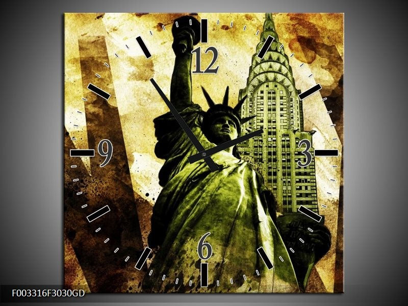 Wandklok op Glas New York | Kleur: Groen, Zwart, Bruin | F003316CGD