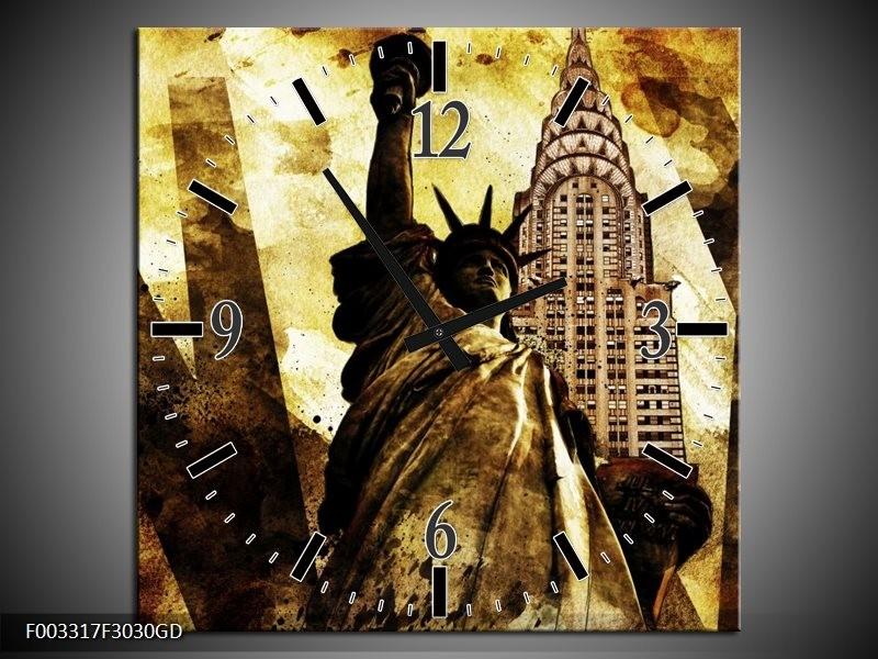 Wandklok op Glas New York | Kleur: Geel, Zwart, Bruin | F003317CGD