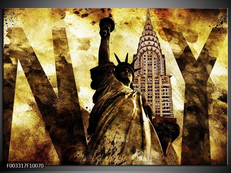 Glas schilderij New York | Geel, Zwart, Bruin