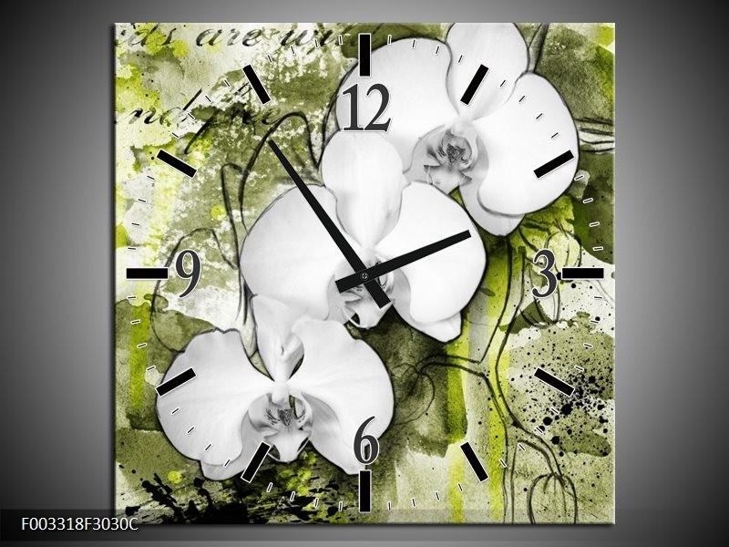 Wandklok op Canvas Orchidee | Kleur: Wit, Groen | F003318C