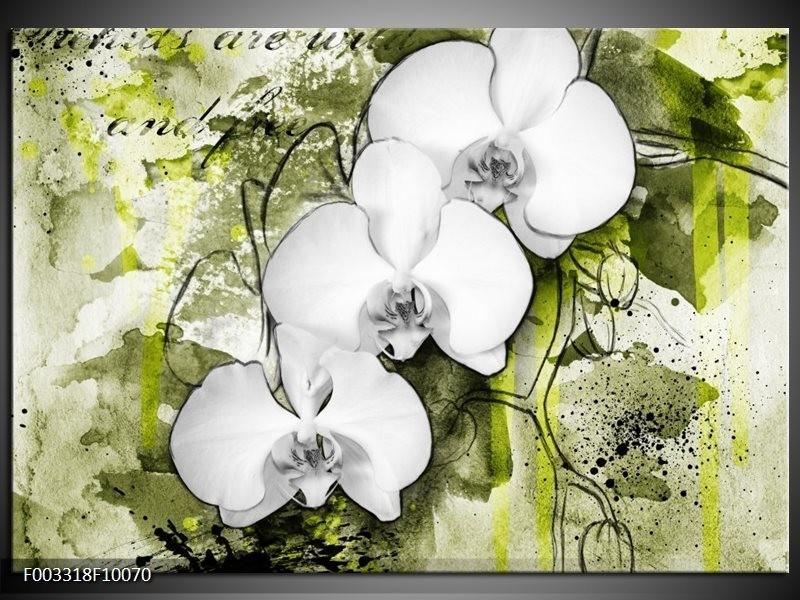 Glas schilderij Orchidee | Wit, Groen