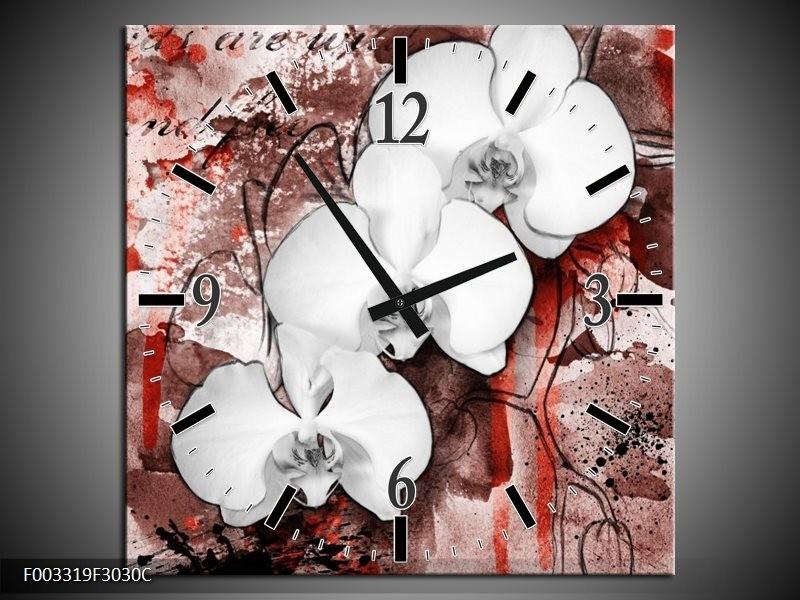 Wandklok op Canvas Orchidee | Kleur: Wit, Rood | F003319C