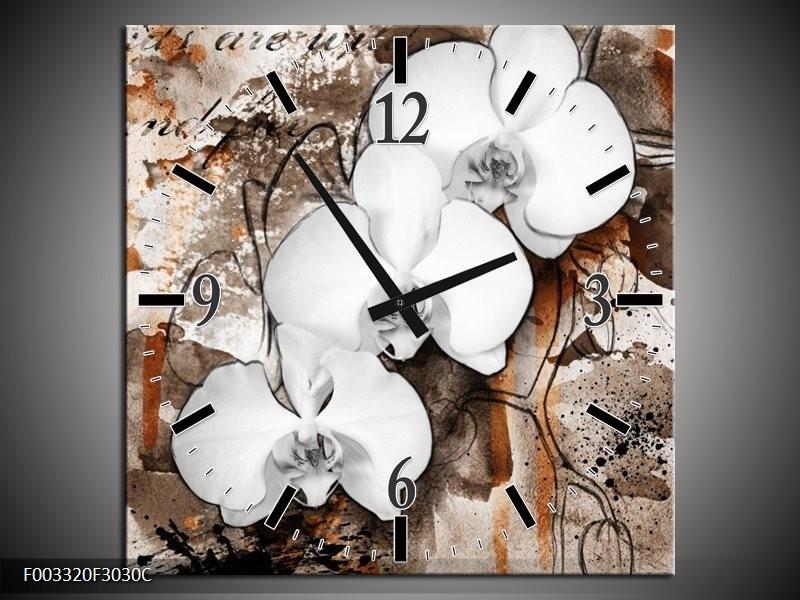 Wandklok op Canvas Orchidee   Kleur: Wit, Bruin   F003320C
